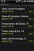 Screenshot of Mileage Log