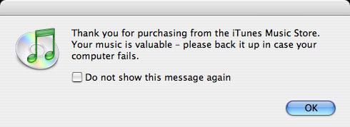iTunes backup alert