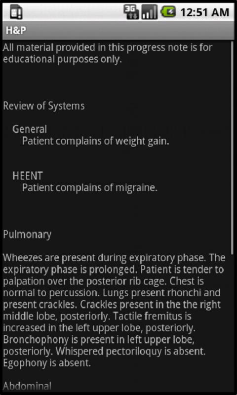 Smart Medical Apps - H&P- screenshot