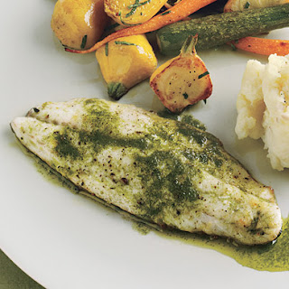 Branzino and Roasted Baby Vegetables with Tarragon-Chive Oil.