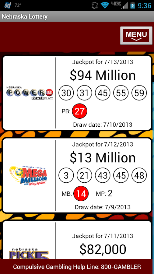 Nebraska Lottery - screenshot
