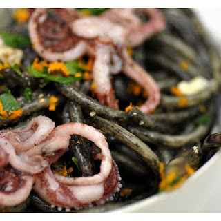 Pasta with Squid Ink, Orange-Braised Fennel and Tentacles.