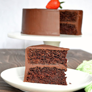 Moist Chocolate Cake With Ganache Frosting.