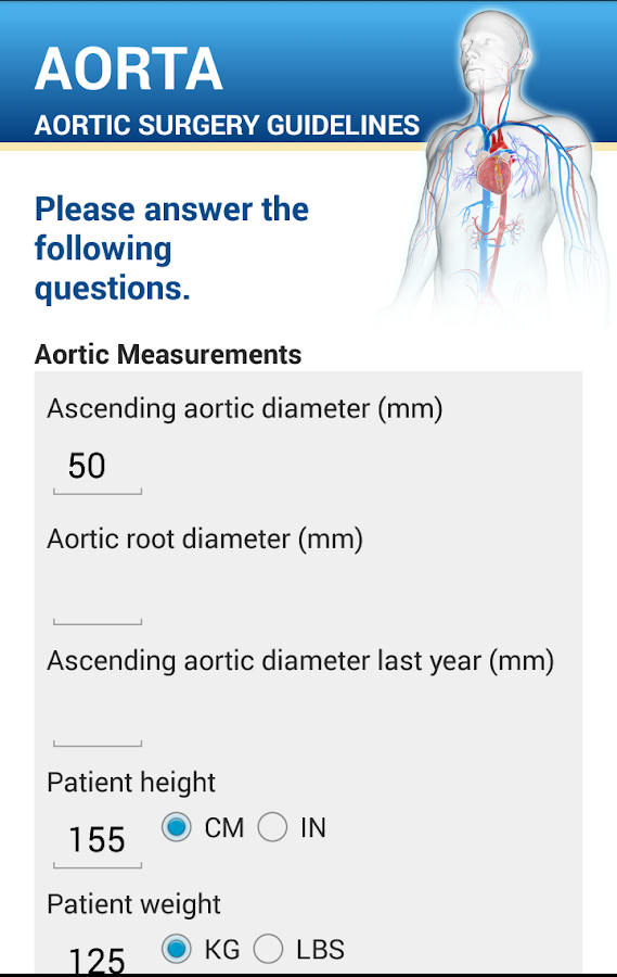 Aortic surgery guidelines- screenshot