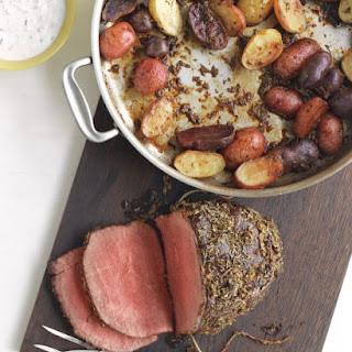 Rosemary-Garlic Roast Beef and Potatoes with Horseradish Sauce.