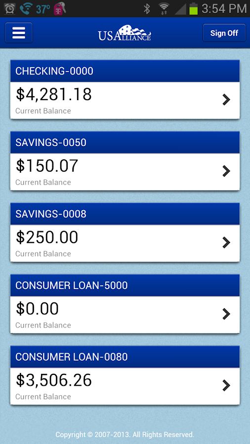 USAlliance FCU Mobile - screenshot