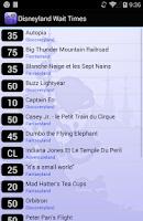 Screenshot of Disneyland Paris Wait Times