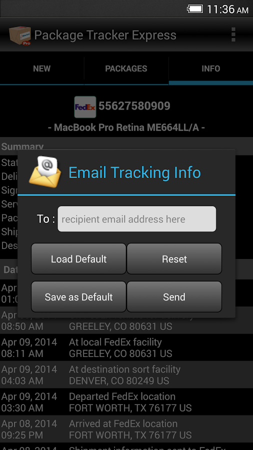 Package Tracker Express - screenshot
