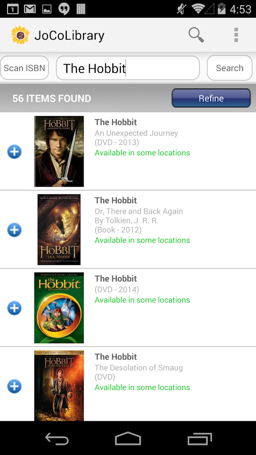 Johnson County Library Mobile- screenshot