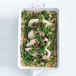 Quinoa Roasted Chicken with Olive Gremolata
