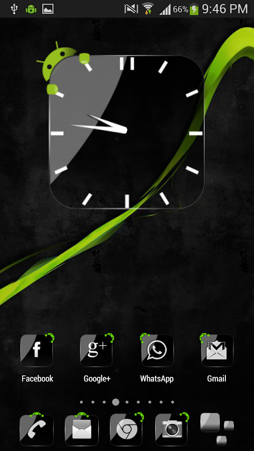 Crystal Black Clock Widget- screenshot