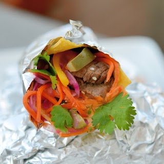 Korean Beef Tacos with Chipotle Aioli and Sriracha