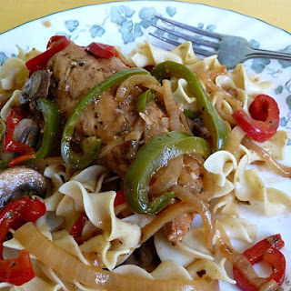 Savory Chicken with Bell Peppers and Mushrooms.