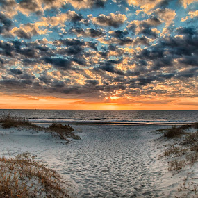 Sunrise Jekyll Islnad by George Holt - Landscapes Beaches ( clouds, sand, dunes, foot prints, waves, ocean waves, ocean, beach, sunrise )