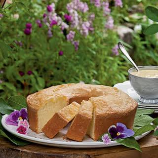 Buttermilk Pound Cake with Custard Sauce.
