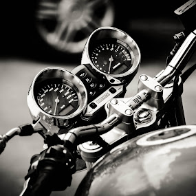 Speed by Cosmin Lita - Black & White Objects & Still Life ( black and white, speed, performance, motorcycle, street photography )