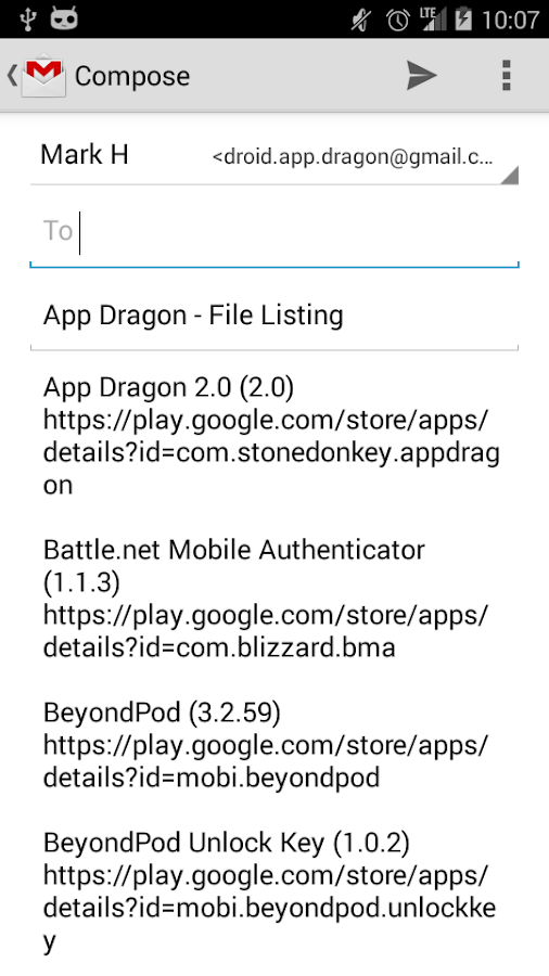 App Dragon App Lister- screenshot