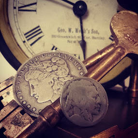 Days Of future Past by Rusty Jhorn - Artistic Objects Antiques ( skeleton keys, clock, carson city, silver dollar, indian nickel, , object )