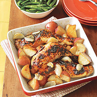 Roasted Chicken with Potatoes and Shallots.