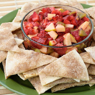 Fruit Salsa with Baked Cinnamon Tortilla Chips.