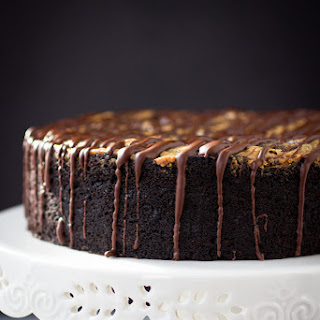 Deep Dish Dark Chocolate Cake with Almond Butter Swirl.