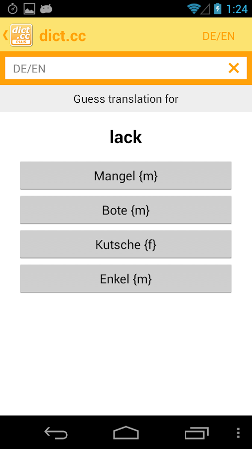 dict.cc+ dictionary - screenshot