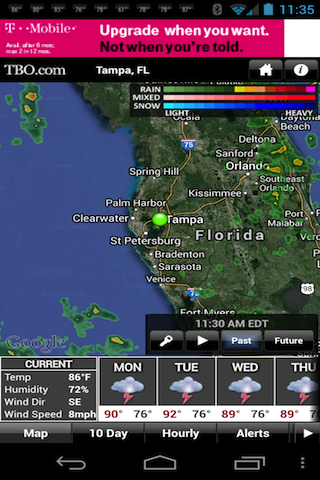 Tampa Bay weather from TBO - screenshot
