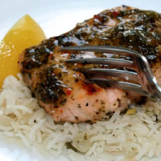 Grilled Salmon Fillets with Balsamic Glaze.