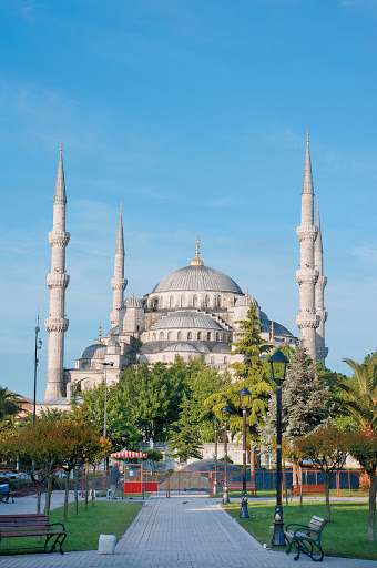 Blue-Mosque-Istanbul - The Sultan Ahmed Mosque in Istanbul, Turkey, dates to 1616. It's popularly known as the Blue Mosque for the blue tiles decorating its inside walls. Visit it as part of a Mediterranean itinerary aboard Tere Moana.