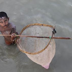 The tiny fisherman. by Debasish Naskar - Babies & Children Children Candids