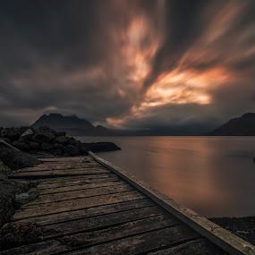 Nightfall Spirit by Daniel Herr - Landscapes Cloud Formations ( clouds, icelandic, reflections, nightfall, westfjords, iceland, details, village, sunset, fall, raft, djupavik, long time exposure )