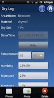 Screenshot of Water Damage Drying Log Lite 2