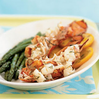Champagne and Orange-Steamed Lobster Tails en Papillote.