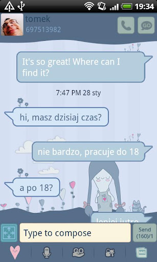 GO SMS Pro Sweet Girl Theme