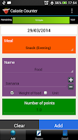 Screenshot of Calorie Counter Simple Lite