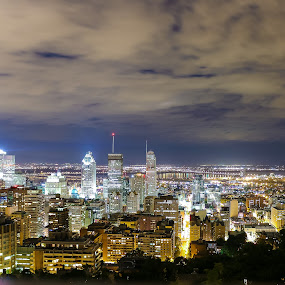 Mountain View of the City by Vikram Mehta - City,  Street & Park  Night ( lights, clouds, montreal, skyline, mountain, colors, night, cityscape, mount royal, city, Urban, City, Lifestyle,  )