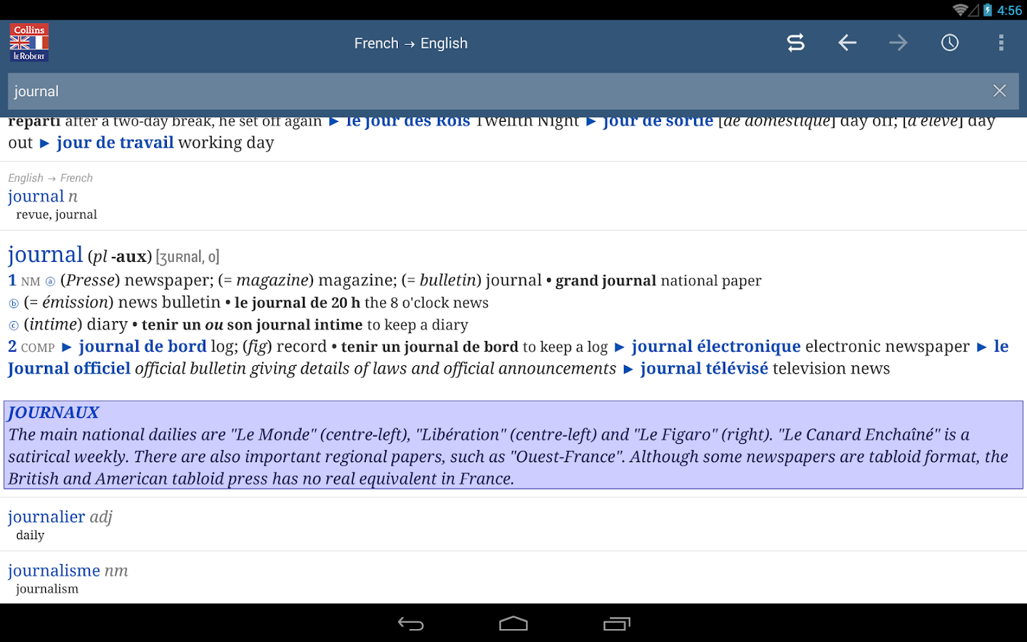 Bedroom english french dictionary wordreference com - Collins Robert Concise French Screenshot