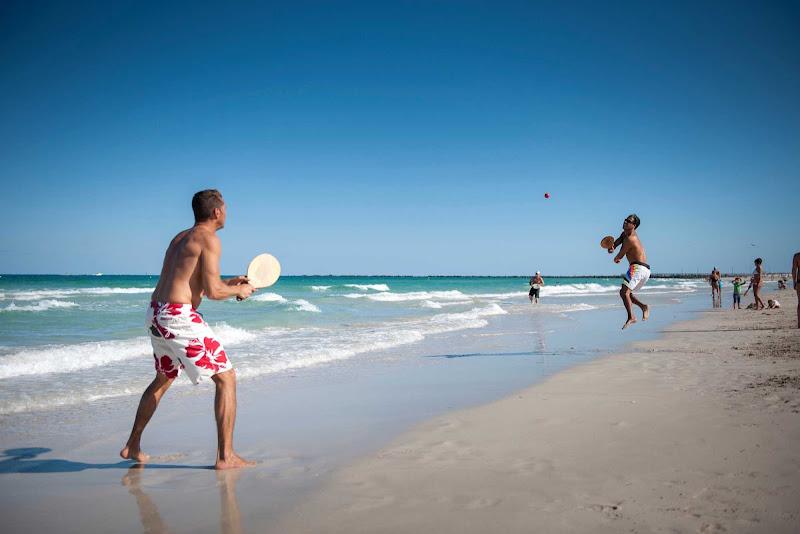 Paddle ball on Miami Beach.
