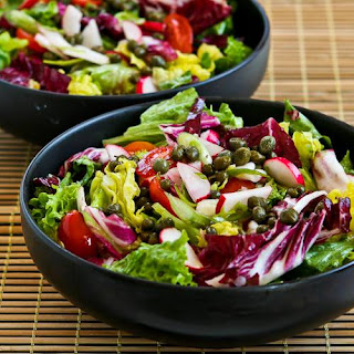 Ottolenghi's Perfect Lettuce Salad with Radicchio, Radishes, Tomatoes, and Capers.