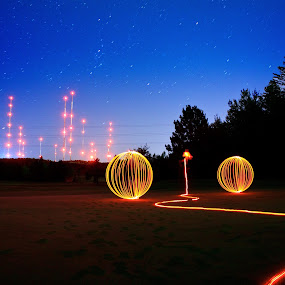 Hole in two by Jamie Rabold - Abstract Light Painting ( abstract, canon camera, orange, golf course, light painting, led, enger park, night shot )