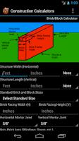 Screenshot of Handy Construction Calculator
