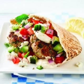 Turkey Zucchini Burger with Tahini Sauce.