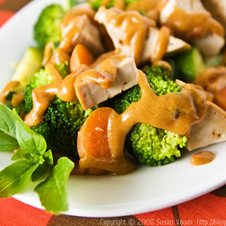 Tofu and Vegetables with Lower-Fat Thai Peanut Sauce.