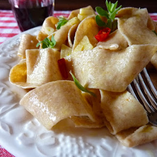 Whole Wheat Pappardelle with Garlic, Oregano and Cherry Tomatoes.