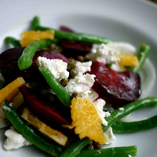 Roasted Beet Salad with Goat Cheese and String Beans