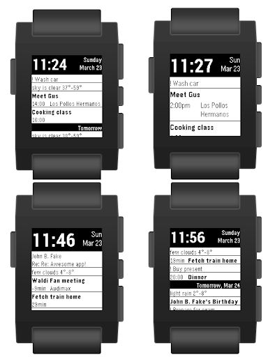 Pebble Agenda Watchface