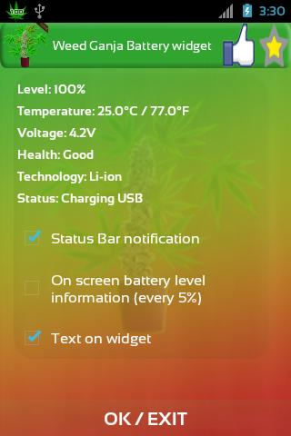 Marijuana Battery HD Widget - screenshot