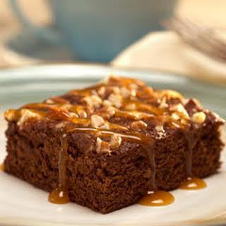 Caramel Topped Chocolate Snack Cake.