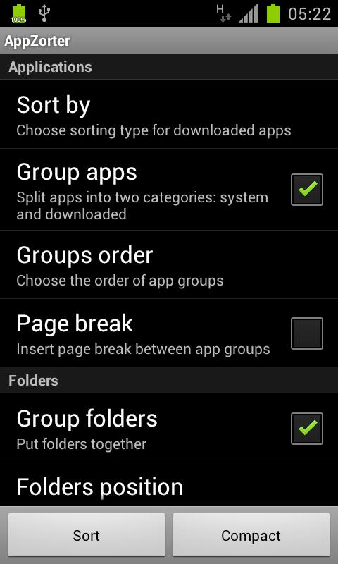 AppZorter for TouchWiz - screenshot