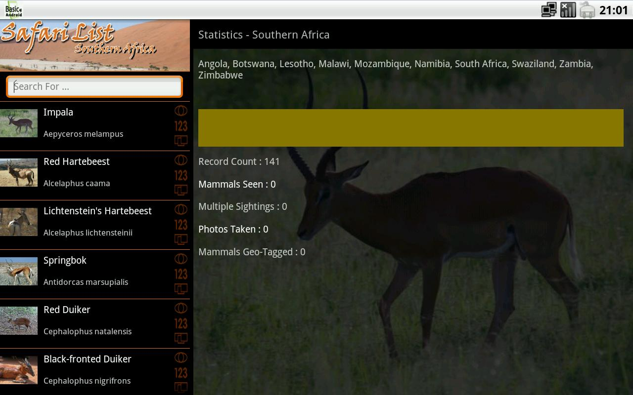 Safari List HD - South Africa- screenshot